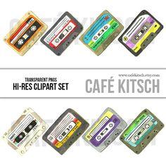 The Mean Mixtapes Clipart Set - A collection of 8 nostalgic multi-colored cassette tape watercolor paint doodles.