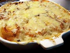 French onion soup casserole. I love french onion soup, so I bet this will be delicious.