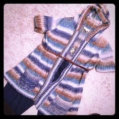 I just discovered this while shopping on Poshmark: Long hooded multi-color sweater. Check it out! Price: $15 Size: L
