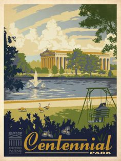 Metro Parks: Centennial Park - Metro Parks has commissioned a 12-print series to celebrate a dozen of  the most popular Metro Parks in the Nashville area. This print is the 6th in the series, and celebrates Centennial Park, located right off of West End Avenue in the heart of Nashville. Centennial Park was the site of the 1897 Tennessee  Centennial Exposition. Construction of the buildings for the 1897   Centennial began in 1895 with the laying of the cornerstone for the  Part...