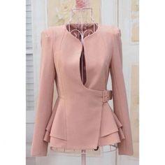 Stylish Slimming Fit Flouncing Hem Puff Long Sleeve Women's Suit Coat$23.46 this jacket is so powerfully feminine.