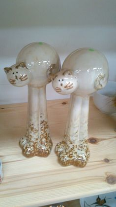 Two Tall White with Gold Bubble Bodied Cat Figurines Porcelain.