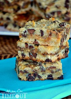 Coconut chocolate chip toffee oatmeal cookie bar  http://www.momontimeout.com/2013/04/coconut-toffee-chocolate-chip-cookie-bars/