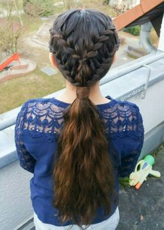 Lace french braids into a ponytail