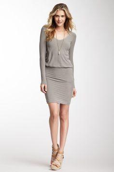 Slub Jersey Deep V-Neck Dress