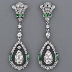 Fabulous Art Deco emerald and diamond earrings.