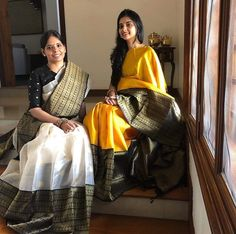 What's your pick this festive season? Kanchi organza or kanchivaram silk? in an ivory and black Kanchi organza sari and in a yellow- black kanchivaram silk. Trendy Sarees, Stylish Sarees, Fancy Sarees, Indian Silk Sarees, Indian Beauty Saree, Ethnic Sarees, Collage Outfits, Fashion Collage, Saree Jewellery