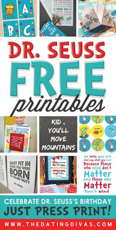 These FREE Dr. Seuss printables are ADORABLE! Can't wait to print some of these off for Dr. Seuss's birthday this year!!! www.TheDatingDivas.com