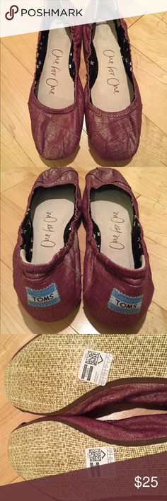 NEVER WORN BRAND NEW TOMS ballet flats Super cute, metallic shiny ballerina flats in a mauve/purple/pink color! Incredibly soft cushiony inside, never worn! Too many shoes in my closet...looking for a good home! TOMS Shoes Flats & Loafers