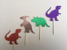 Dinosaur Party Cake Toppers Childrens Party by CraftsbyVerity Dinosaur Party, Baby Shower, Childrens Party, Party Cakes, Cake Toppers, Crochet Earrings, Wedding Inspiration, Unique Jewelry, Handmade Gifts