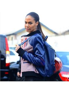 Prettiest Instagrams of the Week: Joan Smalls slick ponytail with a cobalt backpack and varsity jacket | allure.com