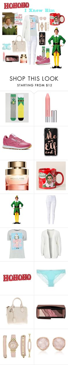 """""""Buddy The Elf, what's your favorite color?"""" by cherizard ❤ liked on Polyvore featuring ASOS, Clinique, Reebok, Casetify, Michael Kors, WithChic, Boohoo, Noisy May, Improvements and Louis Vuitton"""