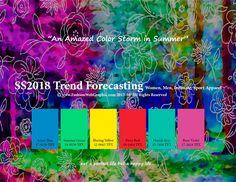 SpringSummer2018 Fashion Trend Forecasting for Women, Men, Intimate, Sport Apparel -An Amazed Color Storm in Summer. www.JudithNg.com