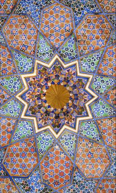 (Mosaic tile ceiling with maqarna center roof) ☮ American Hippie Psychedelic Art ~ Mandala Islamic Art Pattern, Arabic Pattern, Pattern Art, Arabic Design, Arabic Art, Islamic Architecture, Art And Architecture, Geometric Art, Geometric Patterns