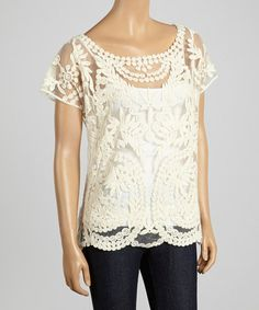 Ivory Embroidered Sheer Dolman Top