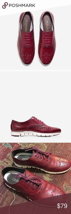 Cole Hana ZeroGrand Oxford Wing Burgundy Shoes Boy meets girl in Cole Haan's best-selling, most sought-after women's ZERØGRAND Oxford Wing shoes that perfectly balance masculine and feminine with panache. Crafted from sleek leather with laser-cut details, they feature ivory rubber soles with Grand.OS technology that are carefully constructed with a focus on flexibility and reduced weight. In excellent condition - only signs of wear on the soles. Size 8B (Medium). Cole Haan Shoes Flats…