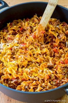 Easy One-Pot Sloppy Joe Noodle Skillet - A nostalgic nod to Hamburger Helper, yet with fresh ingredients and a whole lot more flavor and appeal!
