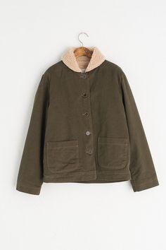 Shearling Lined Peterpan Collar Jacket, Khaki