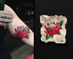 American Traditional Protea flower found in South Africa tattoo by Adam at Black Apple Studios in Sudbury, Ontario Canada - www.blackapplestudios.com Africa Tattoos, Protea Flower, Black Apple, Creative Tattoos, American Traditional, Traditional Tattoo, I Tattoo, Ontario, South Africa