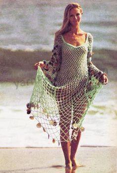 pattern Crochet Pattern Vintage Crochet Dress Pattern Beach Swimwear Goddess Dress Bikini Cover-Up-Bohem Crochet Skirts, Crochet Clothes, Beach Wear Dresses, Dress Beach, Crochet Cover Up, Goddess Dress, Crochet Woman, Filet Crochet, Crochet Fashion