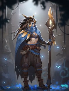 Druid by Da Guo on Artstation. Fantasy Character Design, Character Design Inspiration, Character Concept, Character Art, Concept Art, Dungeons And Dragons Characters, Dnd Characters, Fantasy Characters, Fantasy Armor