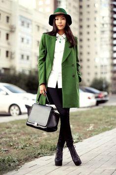 5f36d7fe7a6 Зеленое пальто Сапоги В Повседневном Стиле