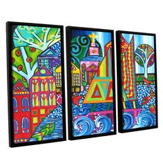 Jump by Debra Purcell 3 Piece Floater Framed Painting Print on Canvas Set