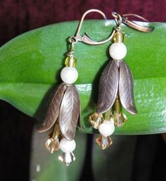 Bell Shaped Flower Earrings/Antique Brass/ Swarovski by AFrogsKiss, $40.00