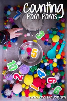 Great for math skills and number recognition.  Counting Pom Poms - Sow Sprout Play