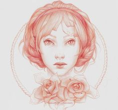 Print simple portrait - Colorful Pencil Drawings by Jennifer Healy  <3 <3