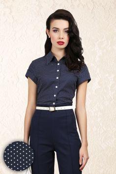 Virginia Mini Polka Dot Shirt Navy LaceV
