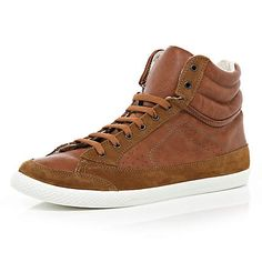 brown high tops - high tops - shoes / boots - men - River Island