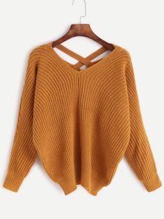 3b510bdcc5 Khaki V Neck Criss Cross Back Sweater Pull Ado