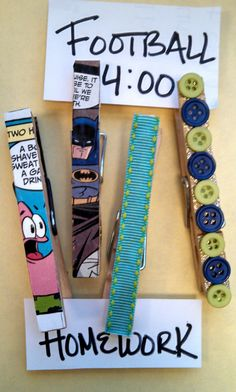 Clothespin Magnet Craft.  Glue images from recycled comics, magazines, books or buttons and ribbons using craft glue. Use a hot glue gun to glue magnet strip to back. Tween library craft.