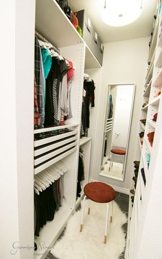 Super Ideas Small Closet Organization Diy For Teens Walk In Small Master Closet, Walk In Closet Small, Walk In Closet Design, Small Closets, Closet Designs, Narrow Closet, Dream Closets, Closet Ideas For Small Spaces, Wardrobe Interior Design