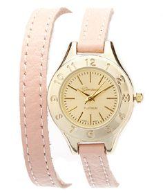 Look at this #zulilyfind! Light Pink & Gold Wrap Watch #zulilyfinds