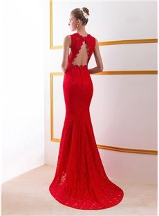 Mermaid V-Neck Lace Sweep-Train Backless Evening Dress & fairytale Evening Dresses