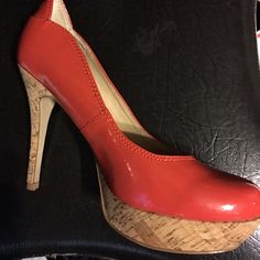 GUESS Shoes Gently used orange patent leather pumps with cork platform and heels! Size 7. Nice shoe great condition Guess by Marciano Shoes