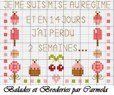 """Je me suis mise au régime et en 14 jours, j'ai perdu 2 semaines..."" (I started the diet and in 14 days I lost two weeks...) - Vive la gourmandise ! - balades-et-broderies"