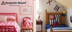Pink walls, pink bed, orange pillow