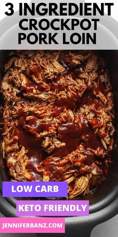 Only 3 ingredients needed for this easy crock pot pork loin. Make it shredded in the slow cooker with BBQ sauce. Low carb and keto friendly! Pork Sirloin Roast, Slow Cooker Pork Roast, Crockpot Bbq Pork Loin, Pulled Pork Loin, Slow Cooker Pulled Pork Recipe, Crock Pot Pulled Pork, Pull Pork, Keto Pork Loin Recipe, Pulled Pork Recipes
