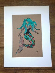 Original Hand Coloured Painted On Recycled Card Tattooed Mermaid Surf Art Illustration