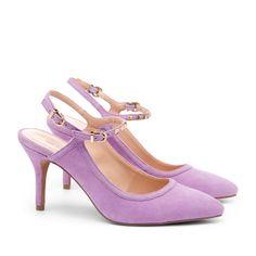 Lilac Slingback Ankle Strap Heels