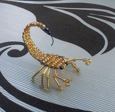 Handmade Yellow Gold & Blue Beaded Scorpion for Jewellery Making and Crafting Gothic Steampunk