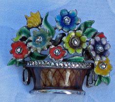 Sterling Flower Basket Brooch Germany c 1930s .$205 etsy