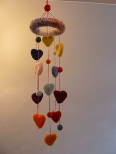 Needle felted hearts and balls Hanging mobile by MotherChimpy on Etsy