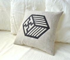 Japanese kimono pattern linen pillow cover