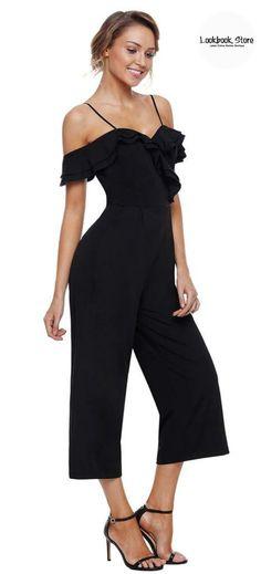 966ee6963ccd1f Black Sweetheart Neckline Cold-Shoulder Jumpsuit