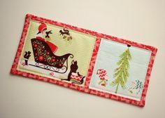 Perfectly lovely Holiday mug rug. Sew Sweet.
