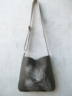 Eco-friendly Hemp Tote Bag - Handbag - Messenger Bag with Peacock Feathers - Charcoal Gray. via Etsy.